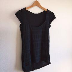 ◆ZARA/ザラ◆シンプル黒Tシャツ★ブラックS*透け感×ボーダーデザイン♪美品