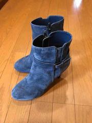 美品 ダイアナ DIANA ブーツ ブーティ ネイビー 23.5 日本製