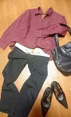 SEXY肌魅せ☆胸元&背中Vカットのスッキパーシャツ*L