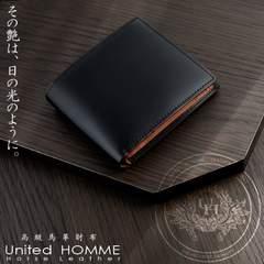 United HOMME ホースハイドコードバン×カウハイド折り財布 BK