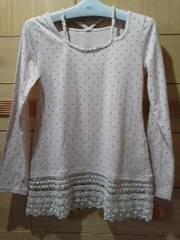 ジ・エンポリアム裾に花柄綿レース衿も可愛いカットソー/送料250円
