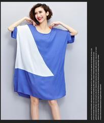 323-603010大きいサイズ☆三角形デザインワンピ☆F/ブルー
