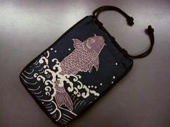 粋なメンズ男物男性巾着(信玄袋)鯉の滝登り 浴衣&着物