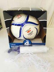 サッカーボール 4号球 空気入 ボールネット 3点セット 青白
