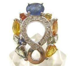 ◆即決 天然マルチカラーサファイア デザインリング  指輪 13号