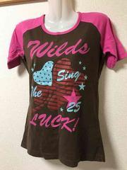 ★ピンク×ブラウン  ラグランTシャツ  M★