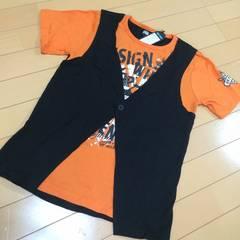 新品◆ジレ重ね着風ドクロ半袖Tシャツ◆スカル160オレンジ