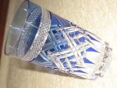 未使用☆切り子グラス*酒器*コップ*KAGAMI CRYSTAL(ブルー)