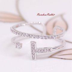 指輪 18K RGP プラチナ ダイヤ CZ 上品 リング yu1105e