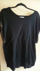■夏物美品moussy黒袖ビジュー裾変形カットソー■