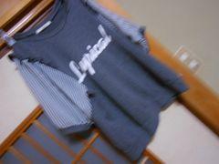 オリーブデオリーブ*袖シフォンストライプガーリーカットソー★クリックポスト164円
