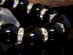 天然オニキス14ミリ金ロンデル黒瑪瑙数珠