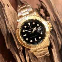 最安値!ロレックス・ヨットマスタータイプ◇クォーツ メタル腕時計・ブラック×ゴールド