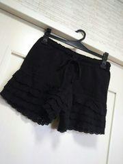M-L フリーsize★裾フリル付き 厚手コットンショートパンツ黒