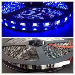 12V用 LEDテープ 5m 防水 300連 黒ベース  ブルー