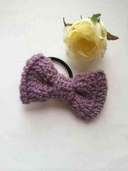 ハンドメイド ヘアゴム リボン ウール パープル     axes好き 紫