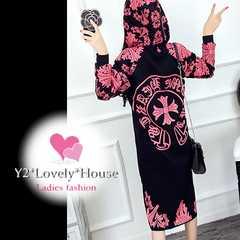 3L4L5L*大きいサイズ*ピンクデザインパーカーチュニワンピース*黒