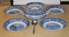 西洋アンティーク風中世の馬車と屋敷の絵入りお皿&器セット
