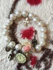 パールブレスレット☆鍵時計薔薇クロスバンビ