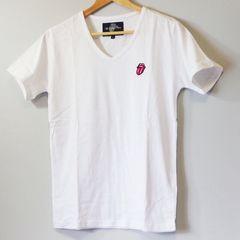 ローリングストーンズ メンズ Tシャツ ホワイト Vネック M