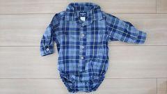 未使用 オシュコシュ ベビー ロンパース Yシャツタイプ チェック柄 サイズ60�p