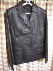 ★Liryus オシャレデザイン レザーコート ジャケット ブラック 羊革 サイズLL★