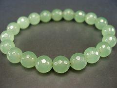 天然石3Aライトグリーン色ジェードミラーカット約10ミリ数珠