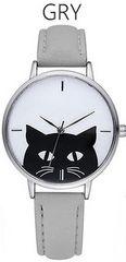 ★黒猫モノトーンシンプルレディース腕時計★GRY