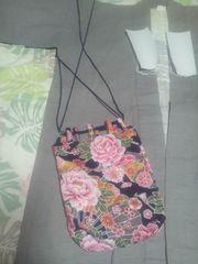 ☆新品紺×牡丹大扇子和柄信玄巾着袋リバーシブル
