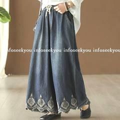 LL大きいサイズ/裾刺繍~デニム調ワイドパンツ
