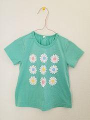 ミントに白の花柄の半袖Tシャツ95