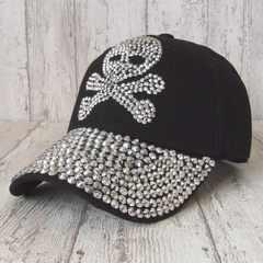 帽子♪スカル ラインストーン キャップ ブラック