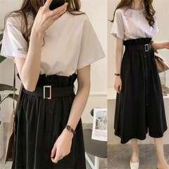 セットアップ  ロングスカート + 半袖 Tシャツ (L寸・黒)