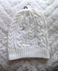 ホワイト ラインストーン フェイクパール ニット帽 ビーニー