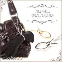 キーホルダー.バッグアクセサリー等にシンプル 手袋 グローブホルダーシルバー