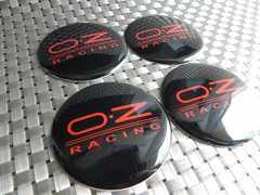 OZレーシング☆ センター キャップ用ステッカー 黒×赤65�o 4枚