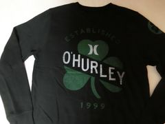 【Hurley】薄手生地裏起毛アイリッシュ系プリントトレーナーUS M