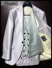 新品☆ ティノラス 光沢系 ライトグレー×Wベスト仕様 3ピーススーツ LLサイズ