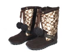 正規新品同様コーチ靴ブーツブラウン5B22.0cmスエードキル