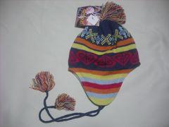 wb531 ROXY ロキシー 耳当て付き ニット帽 柄 紺