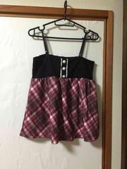 N035/キャミソール/Lサイズ/ブラック/花柄/