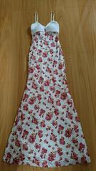 ビジュ-付花柄レ-スロングドレス