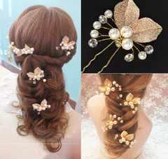 ゴールド花かんざし まとめ髪ヘアピン3個 結婚式ウエディング