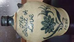 幕末…貿易酒外国産…花絵双耳飾り緑釉壺…年号1886