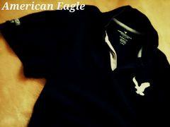 【アメリカンイーグル】Vintage Washed ビッグロゴ ポロシャツ L/Navy