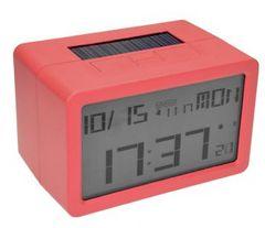 電波時計 ソーラー充電 USB充電 置時計 デジタル レッド