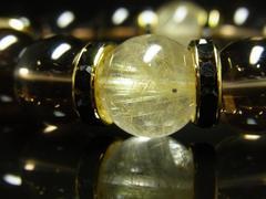 開運招福パワーストーン タイチンルチル スモーキークォーツブレスレット 14ミリ数珠