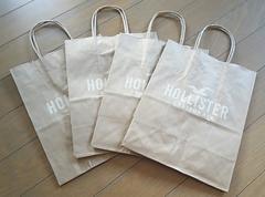 【ホリスター★ショップ袋】HOLLISTER♪4枚セット♪小♪ギフト