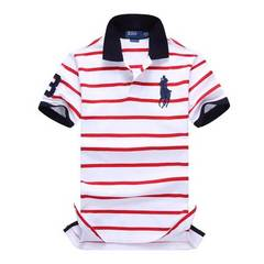 大LOGO★POLO★ RALPH LAUREN ポロシャツ size:L レッド