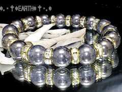 天然石★10ミリ銀色爆裂水晶クラック金色ロンデル数珠